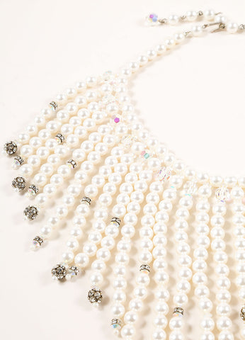 Alice Cavines Faux Pearl, Crystal, and Rhinestone Beaded Fringe Short Necklace Detail