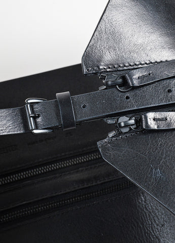 Black Leather Ann Demeulemeester Double Zipper Belt Detail
