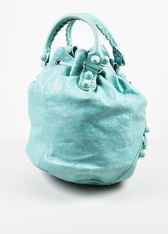 "Balenciaga Mint Green Leather ""Giant 21 Covered Brogues Pompon"" Bag Sideview"