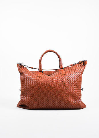 """Apia"" Red Bottega Veneta Leather Intrecciato Woven Convertible Tote Bag Frontview"