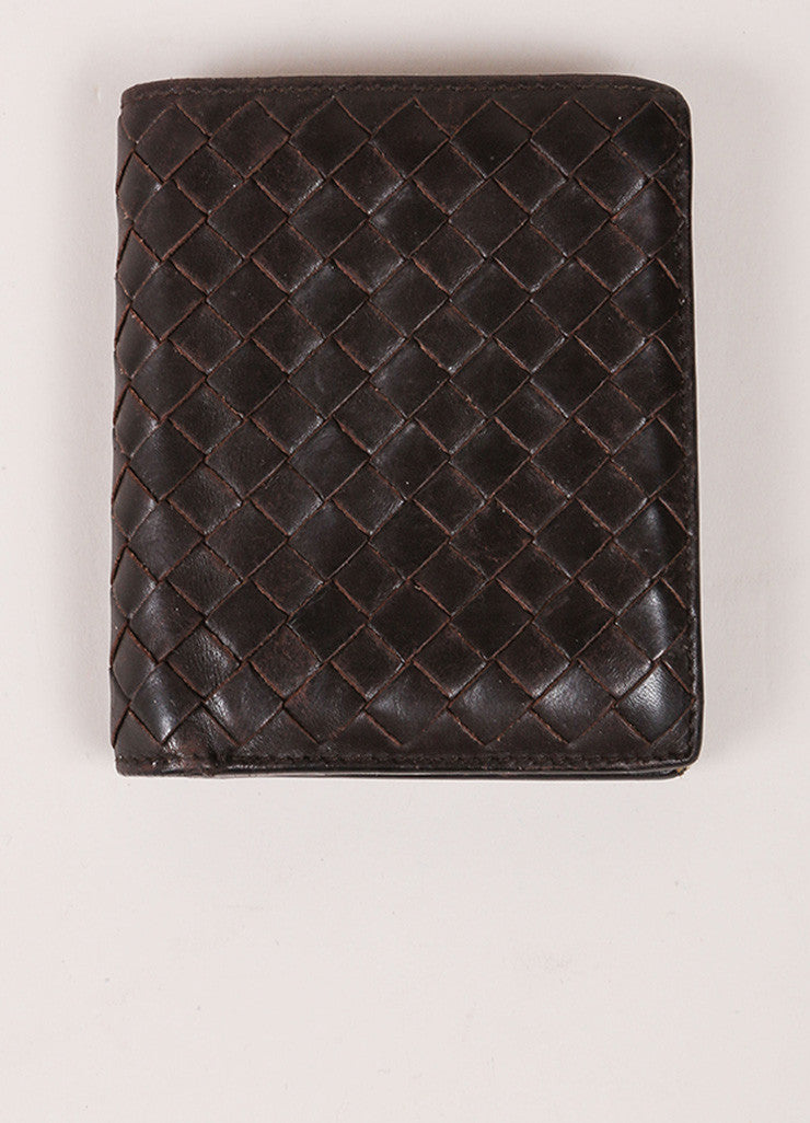 Bottega Veneta Brown Woven Leather Wallet Frontview