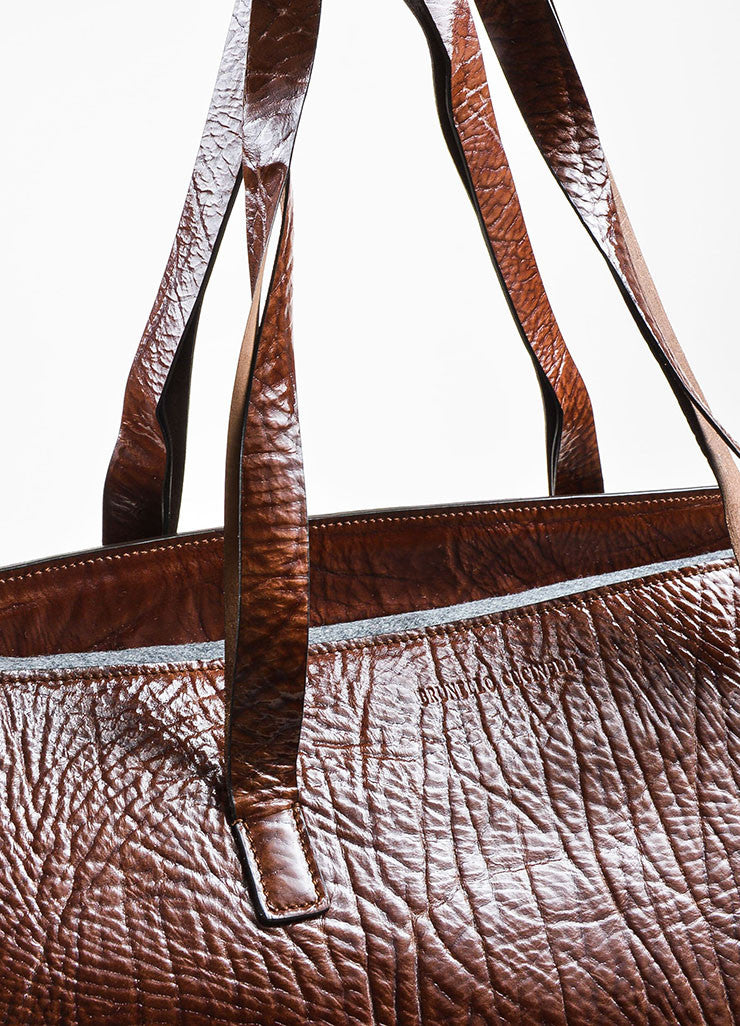 Brunello Cucinelli Brown Patent Grain Leather Oversized Shoulder Tote Bag Detail 2