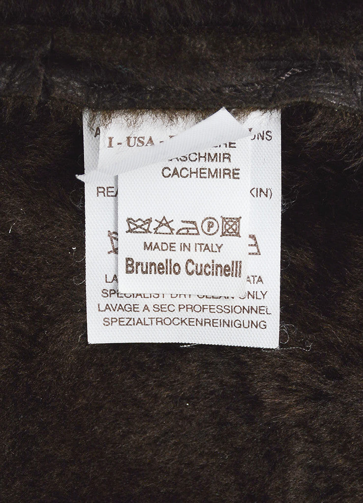 Brown Brunello Cucinelli Shearling and Cashmere Mixed Media Shawl Jacket Brand
