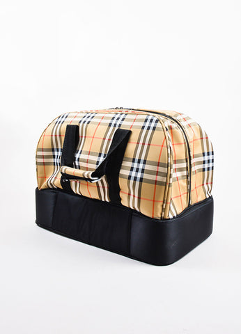 Burberry Golf Tan, Black, and Red Waterproof Nova Check Plaid Travel Duffel Bag Sideview