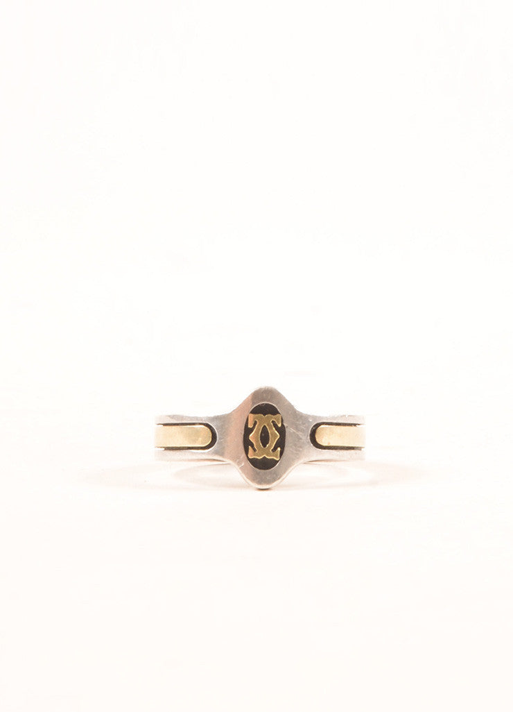 "Cartier 18K Gold and Sterling Silver ""CC"" Logo Engraved Ring Frontview"