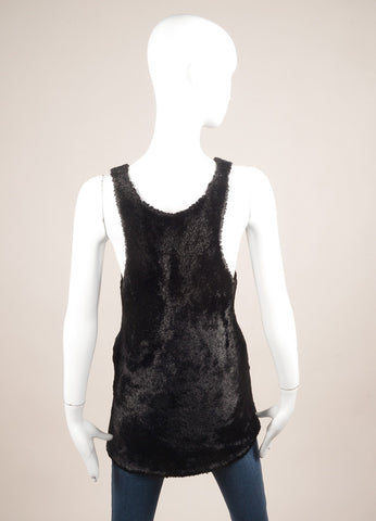 Celine Black Faux Fur Knit Sleeveless Racer Back Top Backview