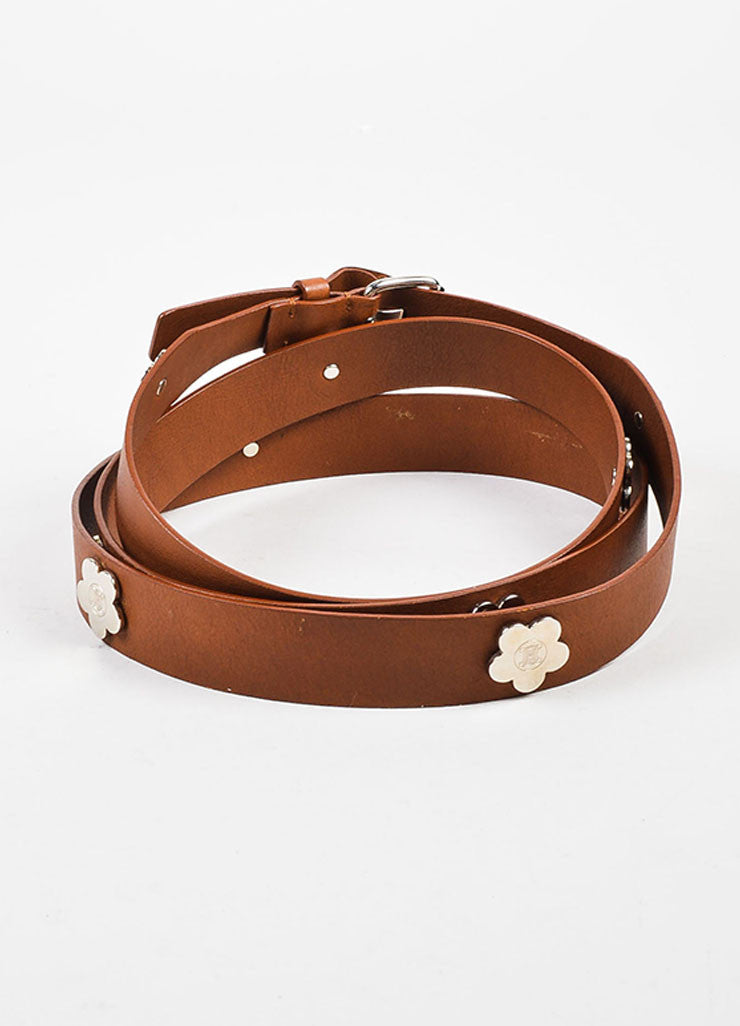 Celine Brown Leather Silver Toned Flower Embellished Double Wrap Belt Backview