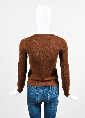 Celine Brown Metallic Cashmere Long Sleeve Sweater back