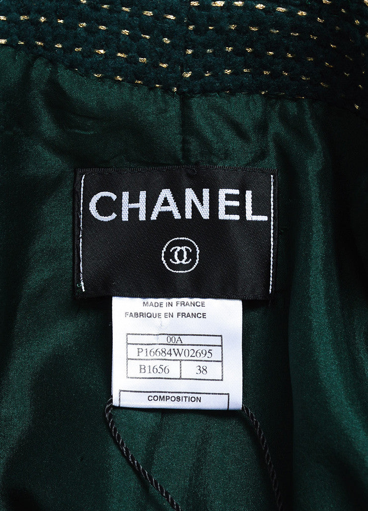 Chanel Hunter Green and Gold Wool Dotted Collarless Coat Brand