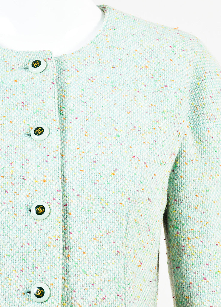 Chanel Light Green Wool Blend Color Flecked 'CC' Button Tweed Jacket Detail