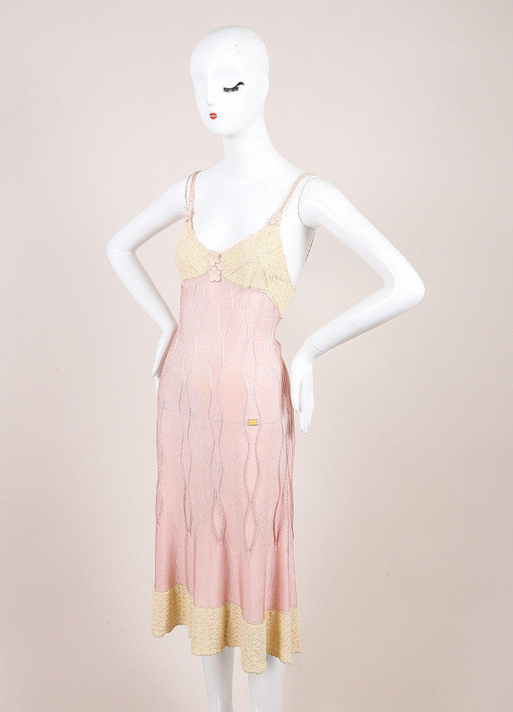 Chanel Cream and Pink Crochet Knit Floral Applique Double Strap Slip Dress Sideview