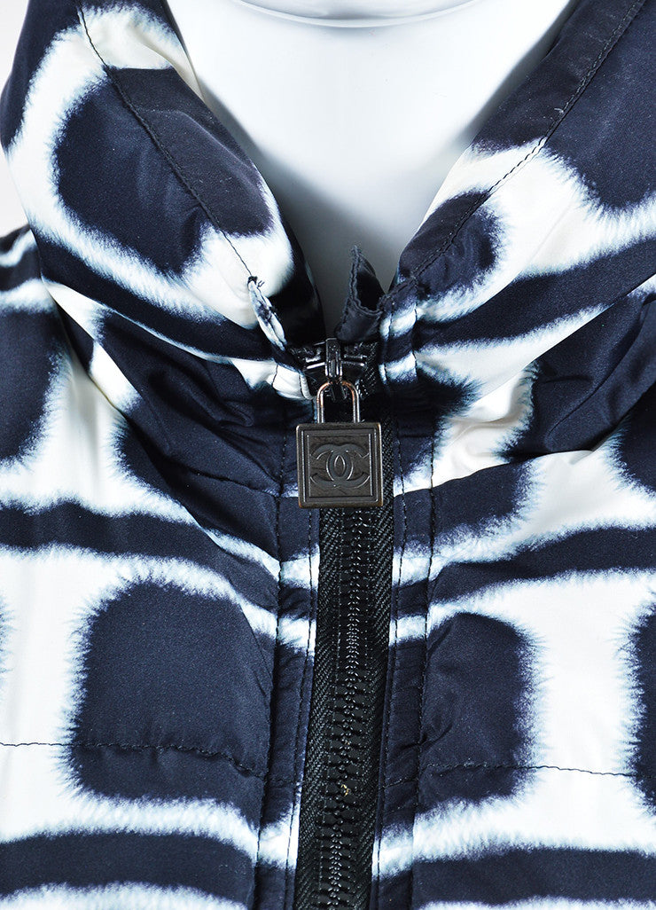 Navy and White Chanel Printed Down Puffer Vest Detail