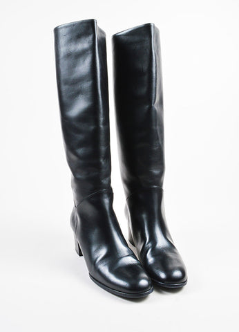Chanel Black Leather 'CC' Stitched Knee High Heeled Riding Boots Frontview