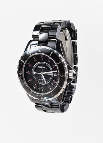 "Chanel Black Ceramic Ruby ""J12"" Automatic Watch Sideview"