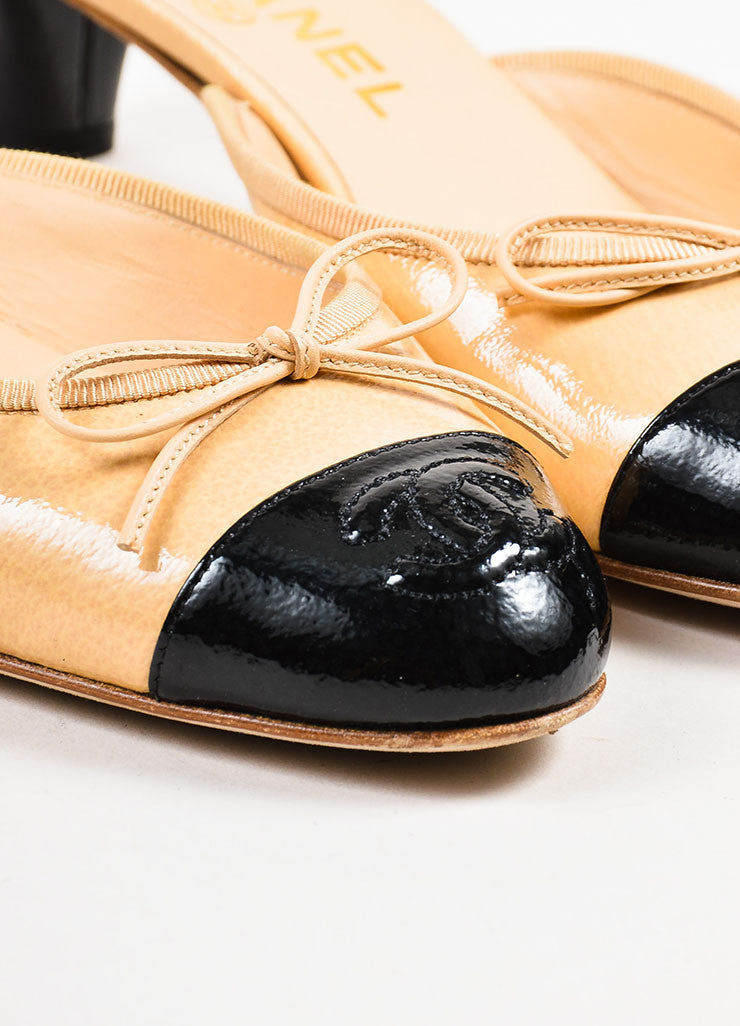 Chanel Beige and Black Patent Leather Cap Toe Bow Detail Mules Detail