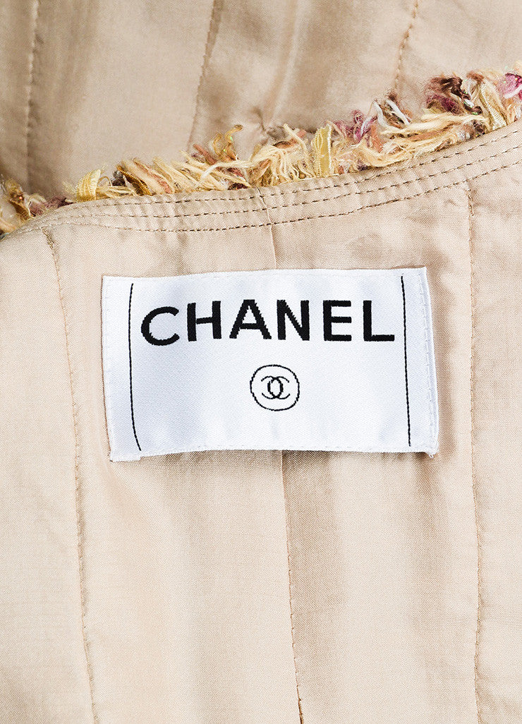 Chanel Beige, Maroon, and Multicolor Tweed Fringe Trim Button Down Jacket Brand