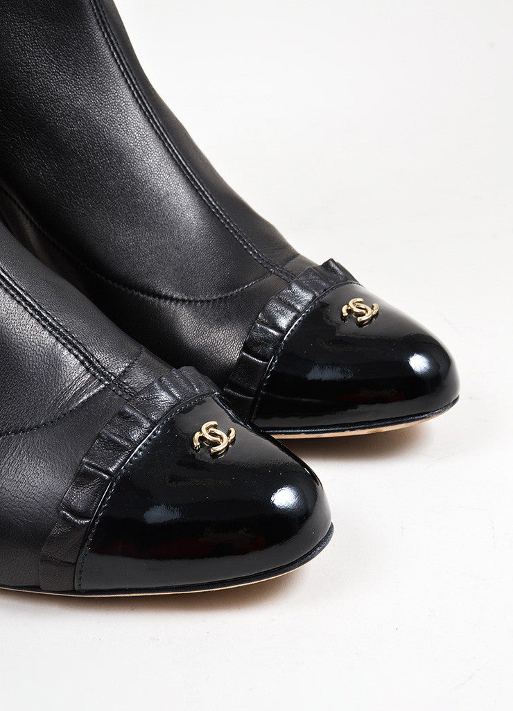 Black Chanel Calfskin Leather Patent Cap Toe Chunky Heel Tall Boots Detail