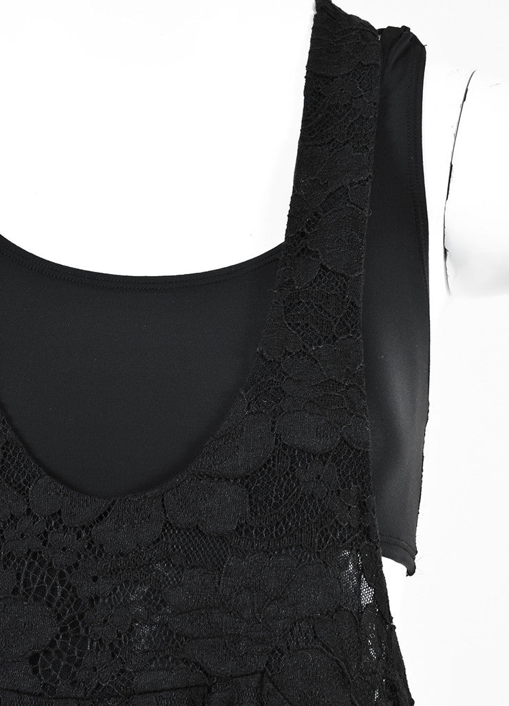 Chanel Black Cotton Lace Sleeveless Scoop Neck Maxi Dress Detail