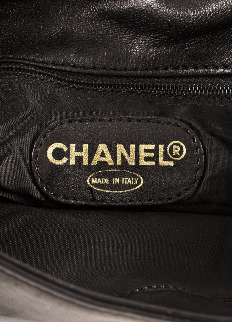 "Chanel Black Leather ""CC"" Embroidered Tassel Detail Flap Shoulder Bag Brand"