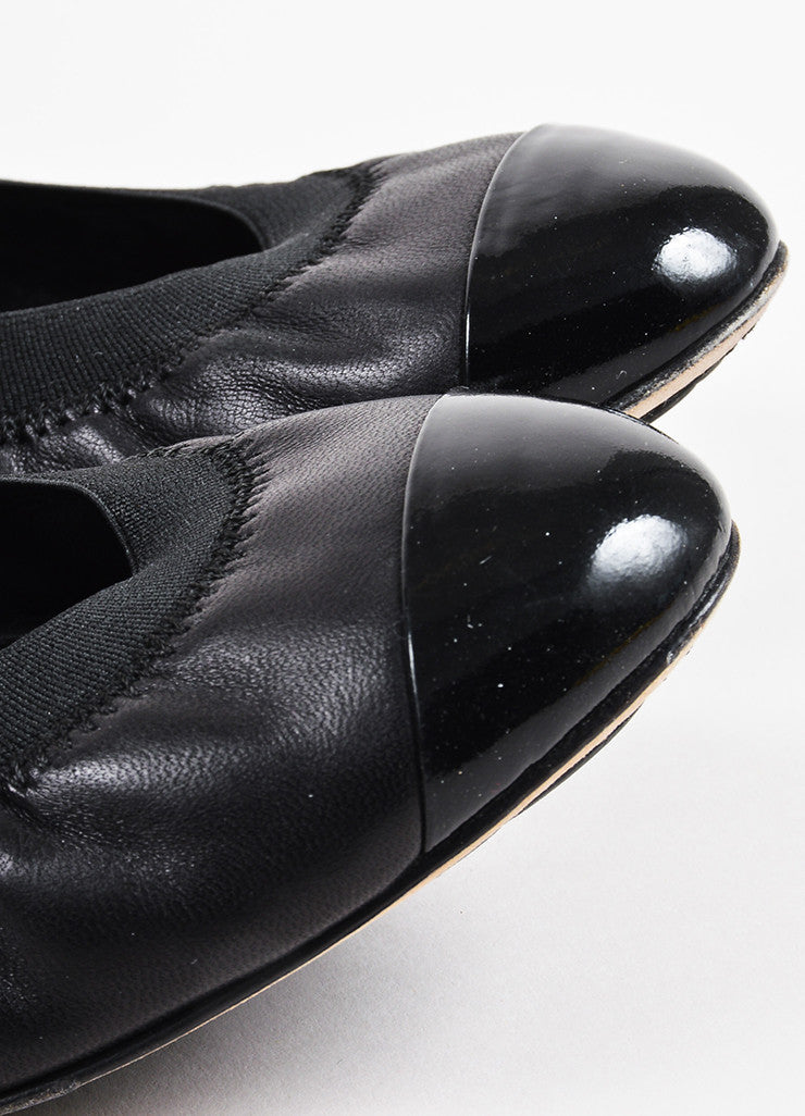 Chanel Black Leather Cap Toe Elastic Ballet Flats Detail