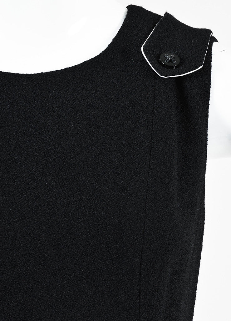 Black Chanel Wool Sleeveless Pave Crystal 'X' Button Dress Detail