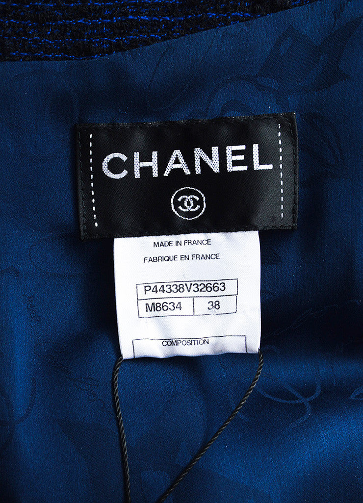 Chanel Blue and Black Alpaca and Wool Blend Tweed Embellished Cap Sleeve Dress Brand