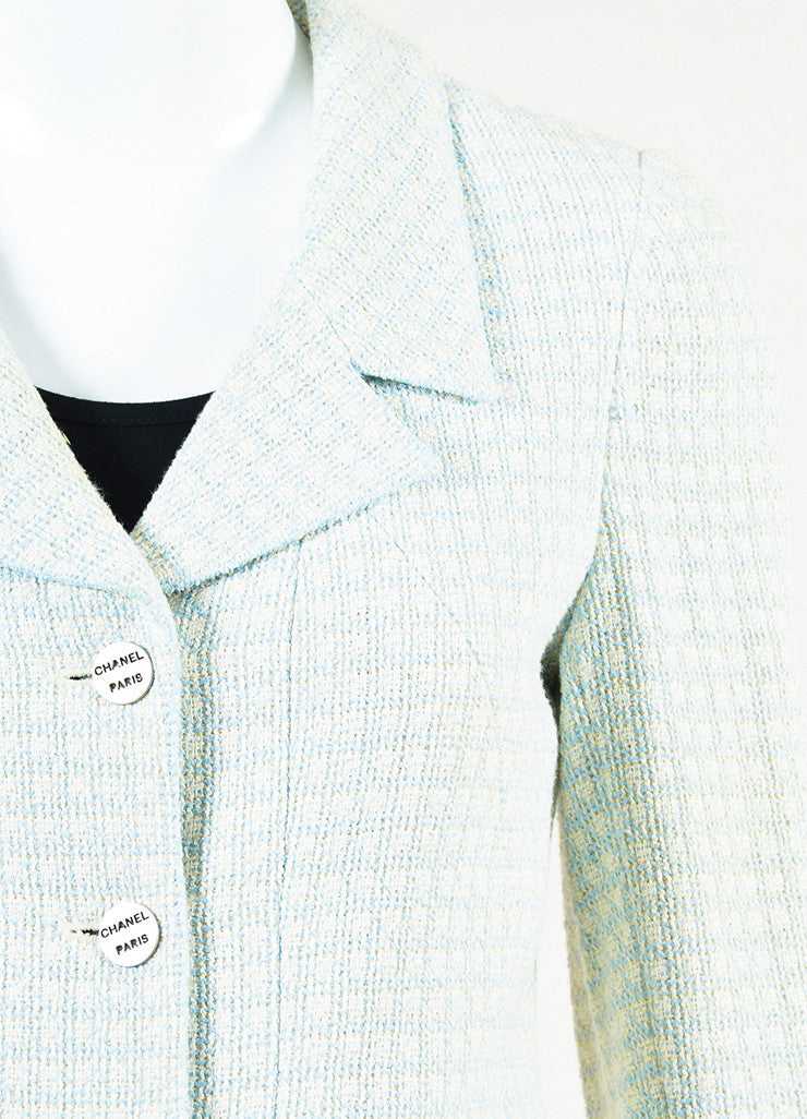 Chanel Light Blue and White Tweed Wool Button Up Collared Blazer Detail