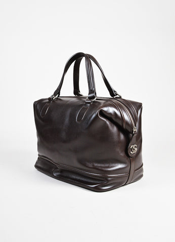 "Chanel Dark Brown Leather SHW ""Country Ride"" Double Handle Bowler Bag angle"
