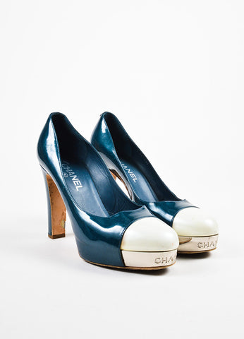 Chanel Dark Teal and Cream Patent Leather Silver Toned Cap Toe Platform Pumps Frontview
