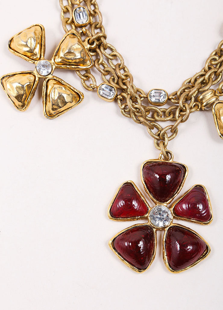Chanel Gold Toned and Red Multi Strand Chain Stone Embellished Flower Necklace Detail