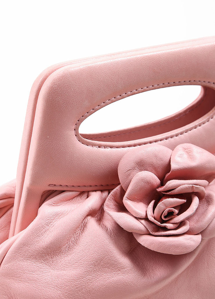Chanel Light Pink Leather Camellia Flower Frame Handle Evening Bag Detail 2