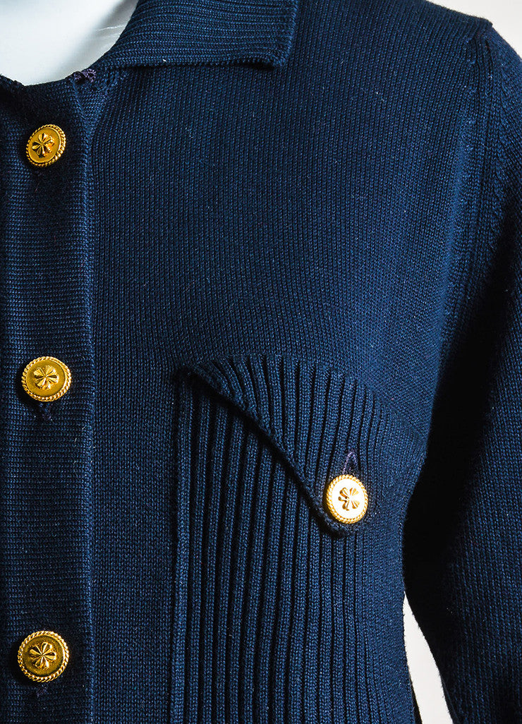 Chanel Navy Blue and Gold Toned Cotton Rib Knit Pocket Half Sleeve Sweater Detail