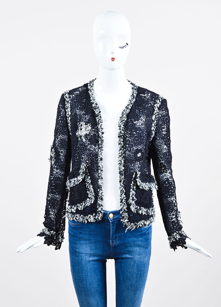 Navy Blue and White Chanel Sheer Embroidered Floral Lace Open Front Jacket Frontview
