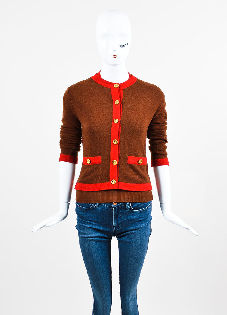 Chanel Red and Brown Knit Color Block Short Sleeve Top and Cardigan Sweater Set Frontview 2