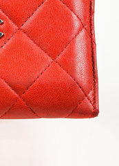 Chanel Red Lambskin Leather Quilted Silver Toned 'CC' Cardholder