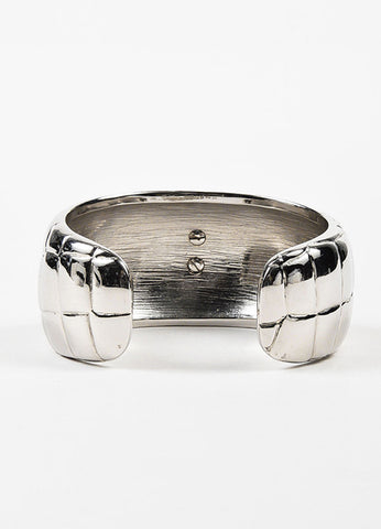 Chanel Silver Toned Metal Crocodile Textured 'CC' Logo Chunky Cuff Bracelet Backview