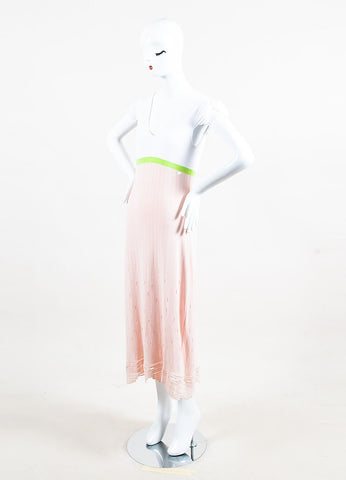 Chanel Pink, Green & White Cotton V-Neck Maxi Dress angle