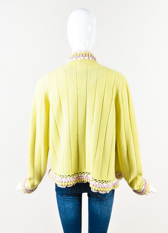 Chanel Yellow Pink Cashmere Pom Lace Trim Long Sleeve Cardigan Back