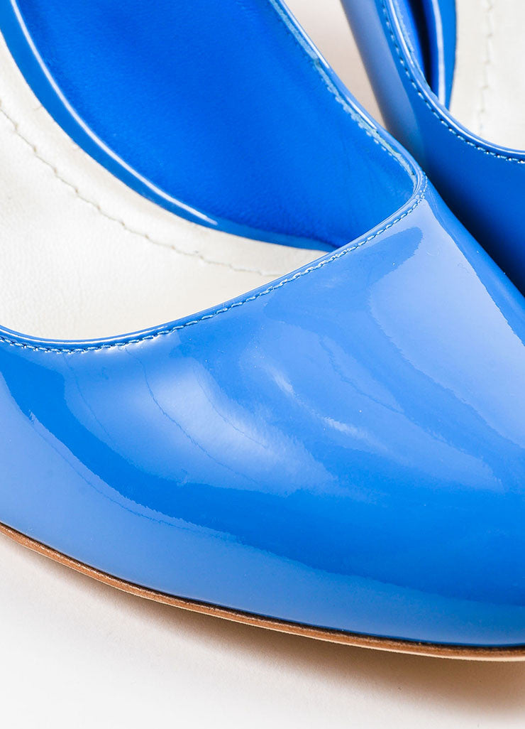 "Blue Christian Dior Patent Leather Wavy ""Silhouette"" Pumps Detail"
