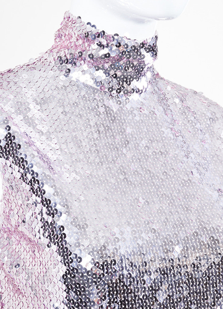 Christian Dior Pink Sequin Sleeveless Band Collar Shift Dress Detail
