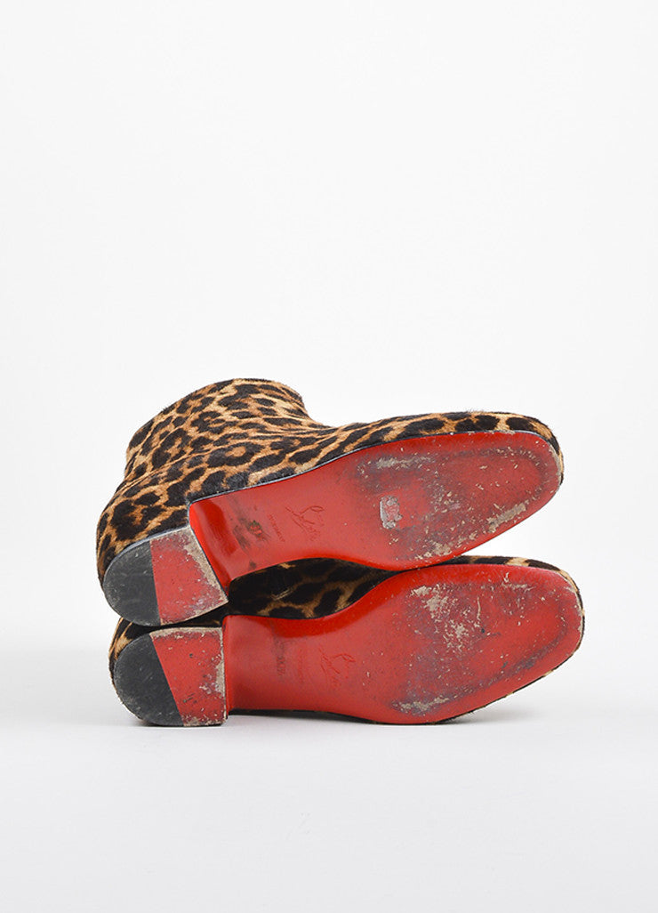 "Christian Louboutin Brown Pony Hair Leopard Print ""Tounoir"" Boots Outsoles"