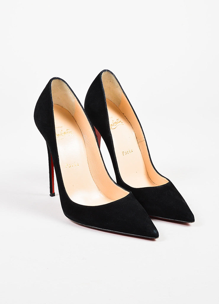 "Christian Louboutin Black Suede Pointed Toe Stiletto ""So Kate"" Pumps Frontview"