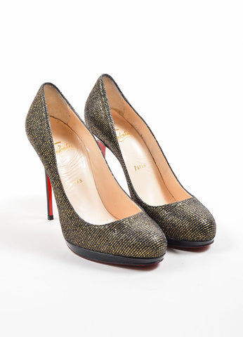 "Christian Louboutin Black and Gold Glitter ""Filo 120 Lady"" Pumps Frontview"