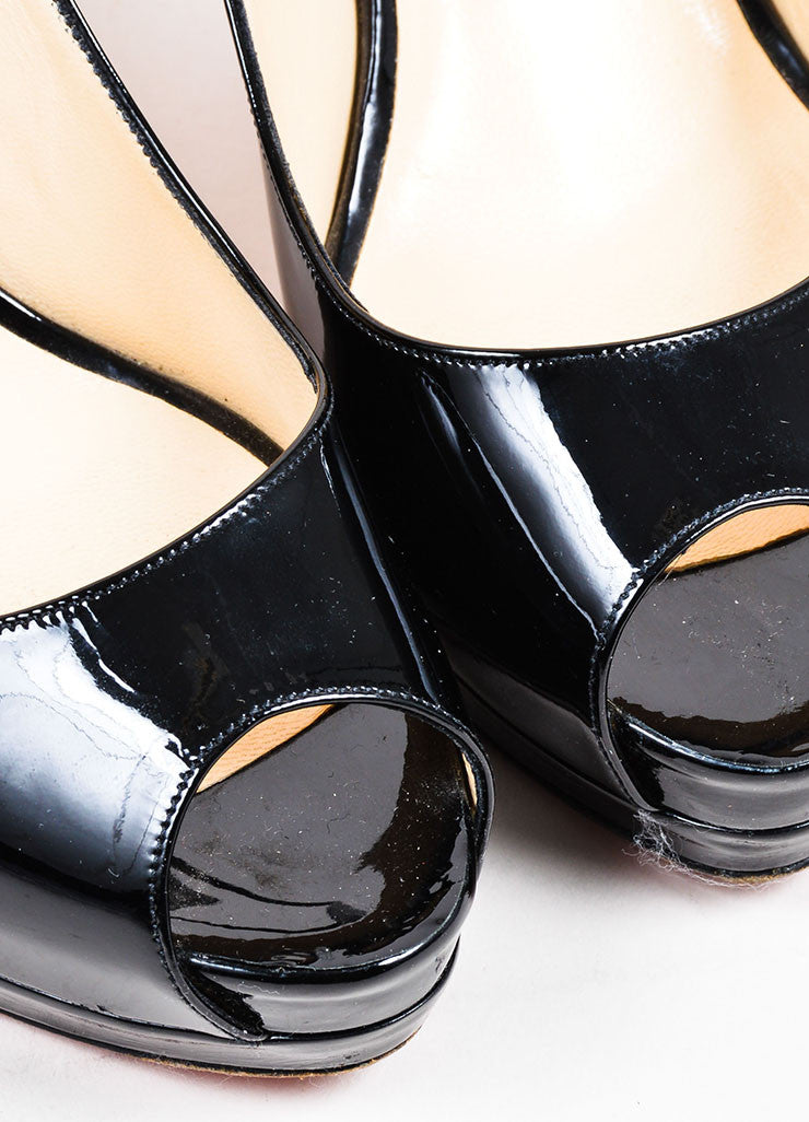 "Black Christian Louboutin Patent Leather ""Cathay 100"" Slingback Pumps Detail"