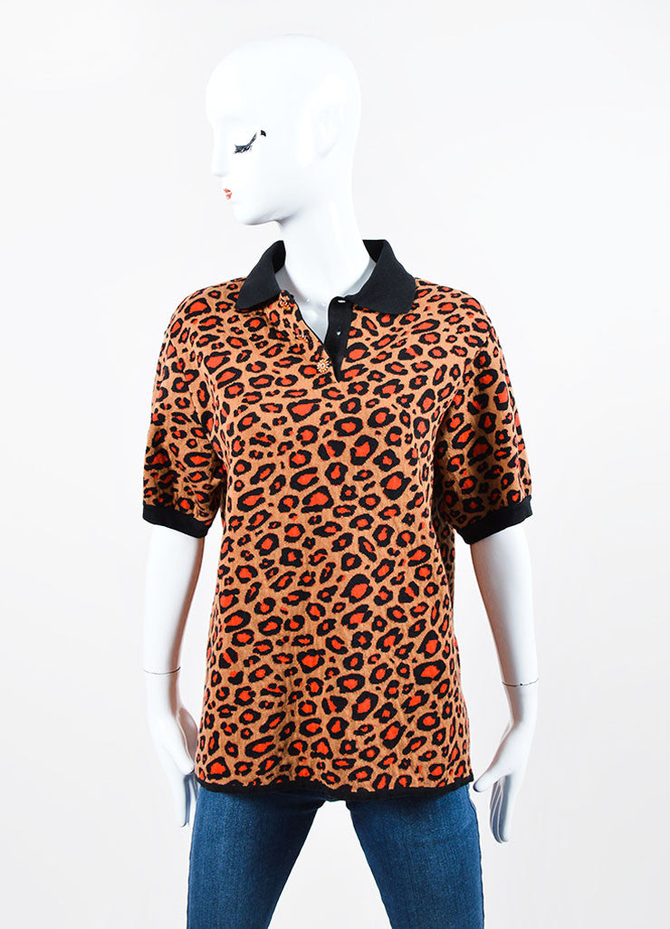 Brown, Orange, and Black Christopher Kane Leopard Knit Short Sleeve Polo Shirt Frontview