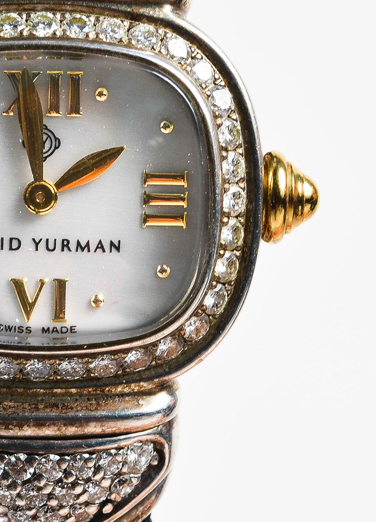 Sterling Silver & Pave Diamond David Yurman Ribbon Band Watch Detail 2