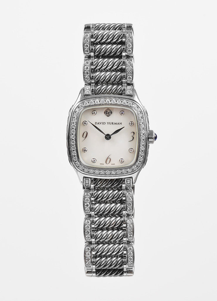 "David Yurman Stainless Steel Diamond Mother Of Pearl ""Thoroughbred"" Watch Frontview"
