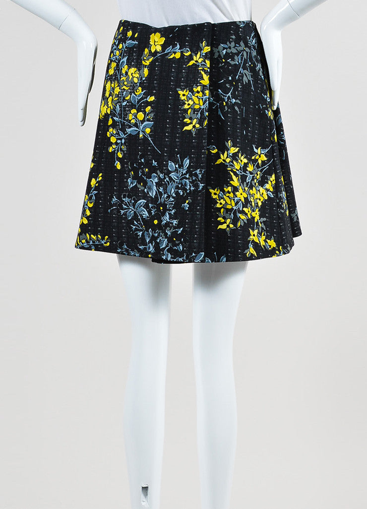 Black, Yellow, and Grey Marni Floral Print Pleated A-Line Skirt Backview