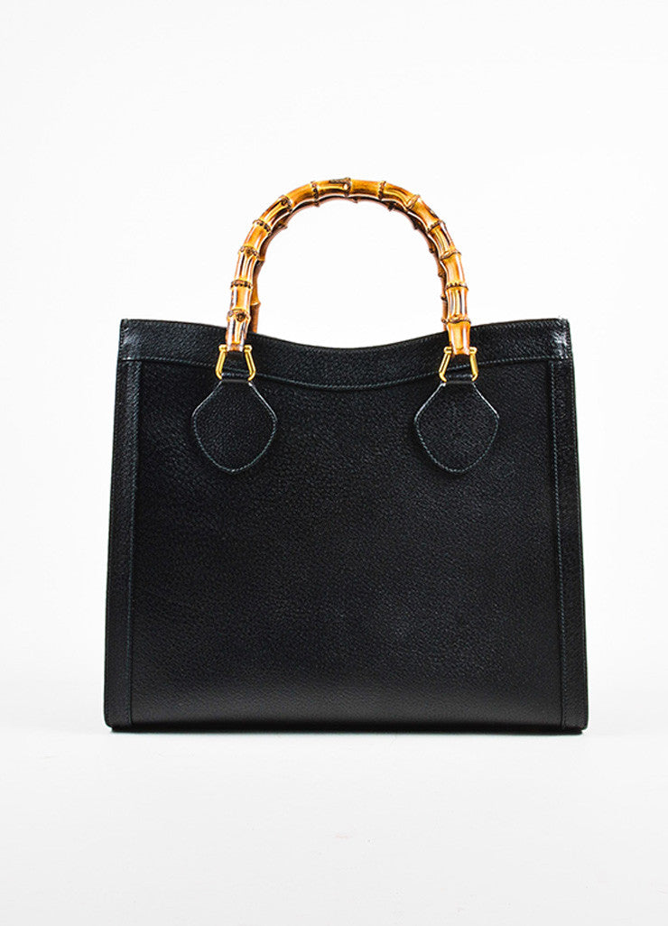 Gucci Black Leather Bamboo Handle Tote Bag Front