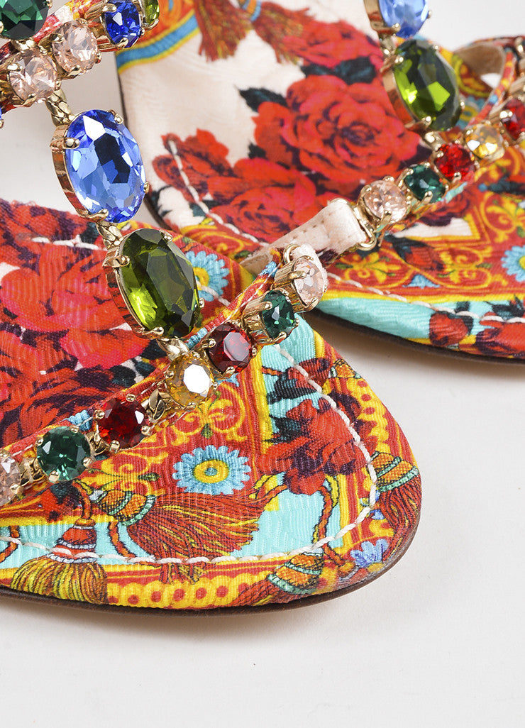 Dolce & Gabbana Multicolor Silk Print Jeweled Strappy Sandals Detail